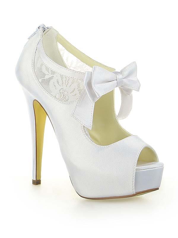81c6eff7af1 Women s Satin Lace Platform Peep Toe With Bowknot Stiletto Heel White  Wedding Shoes