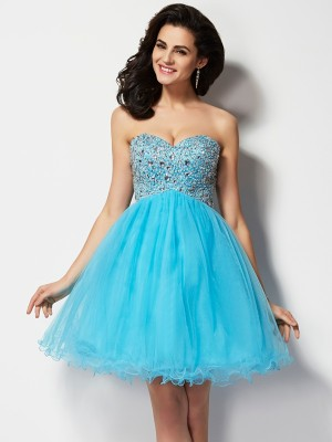 A-Line/Princess Sweetheart Sleeveless Short Beading Tulle Homecoming Dresses