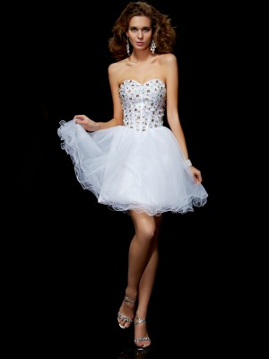 Sheath/Column Sweetheart Sleeveless Crystal Short Elastic Woven Satin Homecoming Dresses