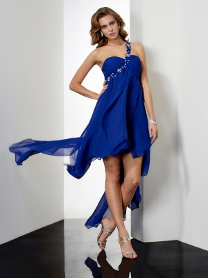 A-Line/Princess One-Shoulder Sleeveless Beading High Low Chiffon Dresses
