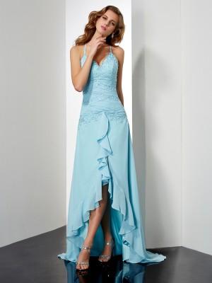 A-Line/Princess Spaghetti Straps Sleeveless Beading Crystal High Low Chiffon Dresses