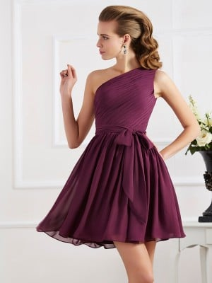 A-Line/Princess Pleats One-Shoulder Sleeveless Short Chiffon Bridesmaid Dresses