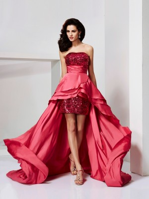 A-Line/Princess Strapless Sleeveless Lace High Low Taffeta Dresses