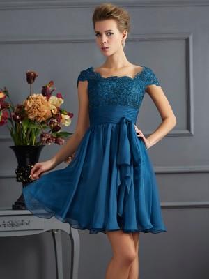 A-Line/Princess Scoop Short Sleeves Lace Short Chiffon Bridesmaid Dresses