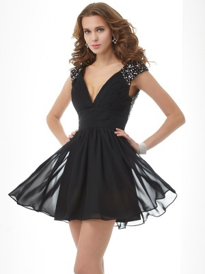 A-Line/Princess V-neck Short Sleeves Beading Short Chiffon Homecoming Dresses