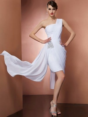 Sheath/Column One-Shoulder Sleeveless Pleats Beading Short Chiffon Homecoming Dresses
