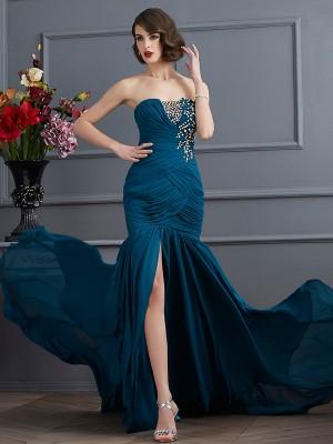 Trumpet/Mermaid Strapless Sleeveless Beading Applique Long Chiffon Dresses