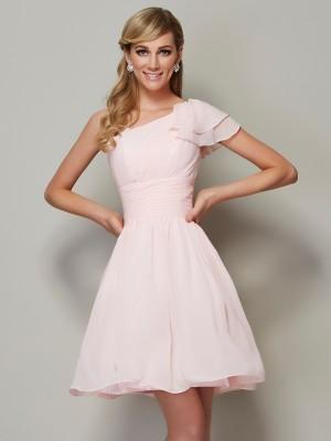 A-Line/Princess Straps Sleeveless Pleats Short Chiffon Bridesmaid Dresses