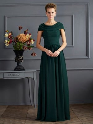 A-Line/Princess Scoop Short Sleeves Pleats Long Chiffon Mother of the Bride Dresses