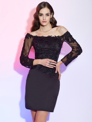 Sheath/Column Off the Shoulder Long Sleeves Applique Short Satin Mother of the Bride Dresses