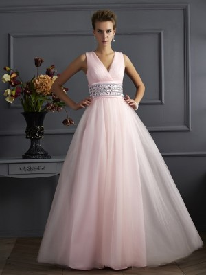 Ball Gown V-neck Sleeveless Beading Long Net Dresses