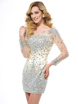 Sheath/Column Scoop Long Sleeves Short Elastic Woven Satin Homecoming Dresses