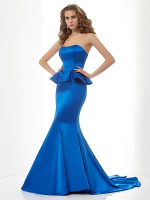 Trumpet/Mermaid Sweetheart Sleeveless Long Satin Bridesmaid Dresses