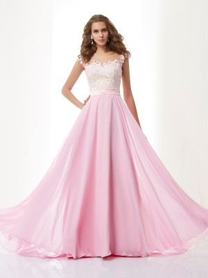 A-Line/Princess Straps Applique Sleeveless Beading Long Chiffon Dresses