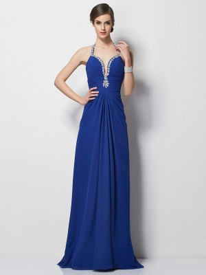 A-Line/Princess Halter Sleeveless Beading Long Chiffon Dresses