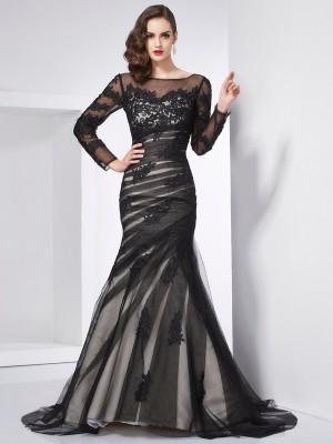 Trumpet/Mermaid Jewel Long Sleeves Applique Long Net Dresses
