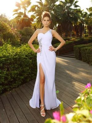 A-Line/Princess One-Shoulder Beading Sleeveless Long Chiffon Wedding Dresses