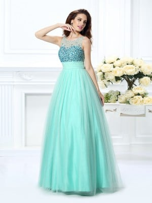 Ball Gown Bateau Beading Sleeveless Long Chiffon Quinceanera Dresses