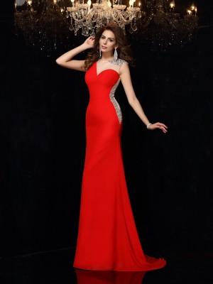 Sheath/Column Scoop Beading Sleeveless Long Chiffon Dresses
