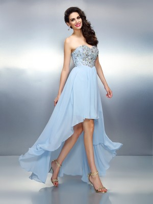 A-Line/Princess Sweetheart Ruffles Sleeveless High Low Chiffon Cocktail Dresses