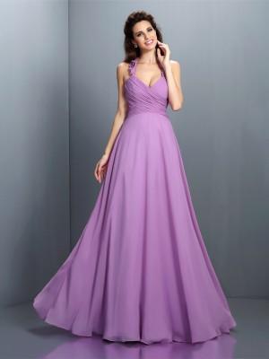A-Line/Princess Halter Pleats Sleeveless Long Chiffon Bridesmaid Dresses