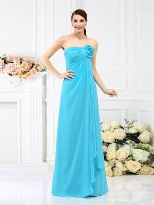 A-Line/Princess Strapless Hand-Made Flower Sleeveless Long Chiffon Bridesmaid Dresses