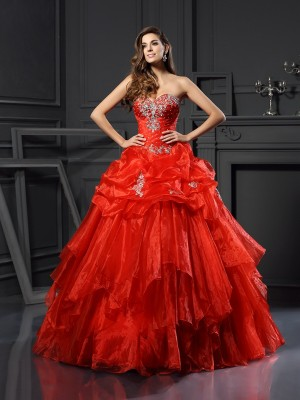 Ball Gown Sweetheart Beading Sleeveless Long Tulle Quinceanera Dresses
