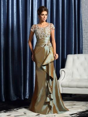 Trumpet/Mermaid Scoop Beading Short Sleeves Applique Long Taffeta Mother of the Bride Dresses