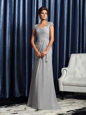 Sheath/Column Sweetheart Applique Short Sleeves Long Chiffon Mother of the Bride Dresses