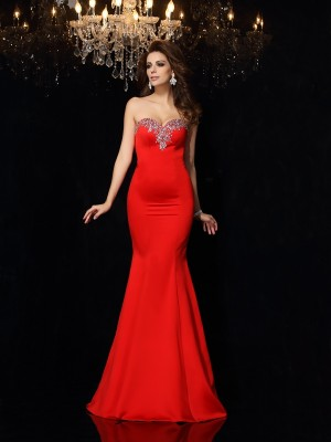 Sheath/Column Sweetheart Beading Sleeveless Long Satin Dresses