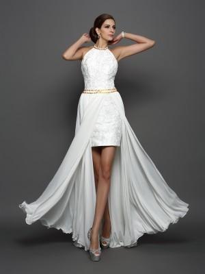 A-Line/Princess High Neck Lace Sleeveless Long Chiffon Wedding Dresses