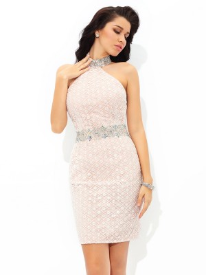 Sheath/Column Halter Beading Sleeveless Short Satin Cocktail Dresses