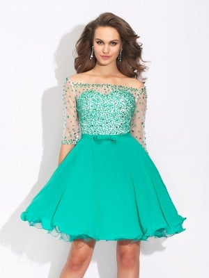 A-Line/Princess Off-the-Shoulder Beading 1/2 Sleeves Short Chiffon Dresses