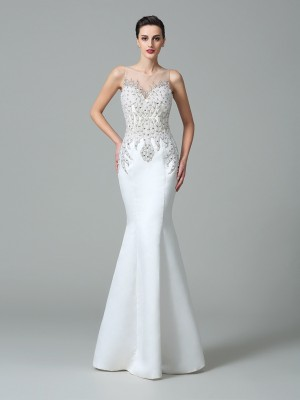 Trumpet/Mermaid Sheer Neck Applique Sleeveless Long Satin Dresses