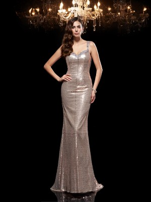 Sheath/Column Straps Beading Sleeveless Long Sequins Dresses