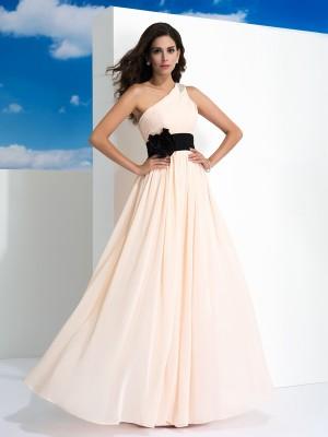 A-Line/Princess One-Shoulder Sash/Ribbon/Belt Sleeveless Long Chiffon Dresses