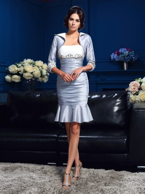 Sheath/Column Sweetheart Sleeveless Short Taffeta Mother of the Bride Dresses