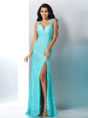 Trumpet/Mermaid Sweetheart Beading Sleeveless Long Lace Dresses