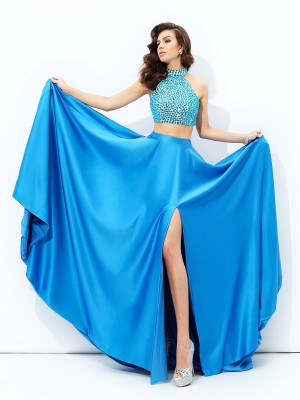 A-line/Princess High Neck Beading Sleeveless Long Satin Two Piece Dresses