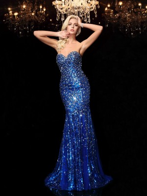 Trumpet/Mermaid Sweetheart Sequin Sleeveless Long Sequins Dresses