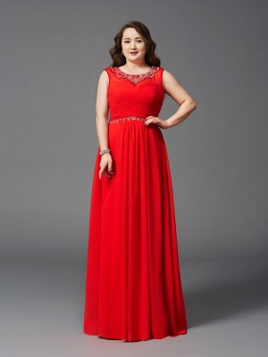 A-Line/Princess Scoop Beading Sleeveless Long Chiffon Plus Size Dresses