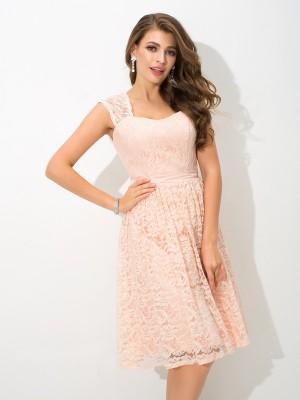 A-Line/Princess Straps Lace Sleeveless Short Lace Bridesmaid Dresses
