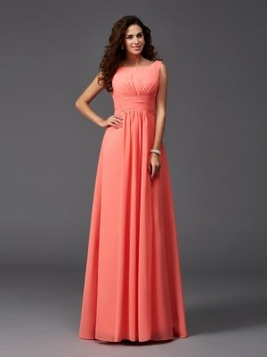 A-Line/Princess Scoop Ruffles Sleeveless Long Chiffon Bridesmaid Dresses