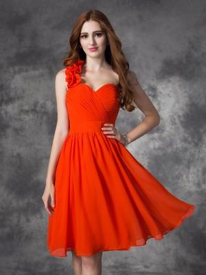 A-line/Princess One-Shoulder Hand-Made Flower Sleeveless Short Chiffon Dresses