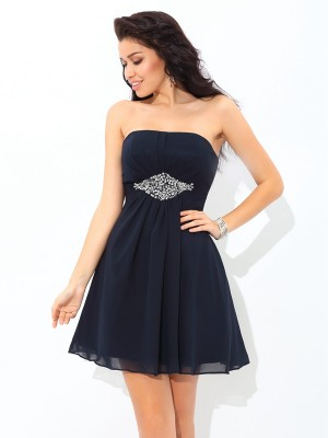 A-Line/Princess Strapless Beading Sleeveless Short Chiffon Cocktail Dresses