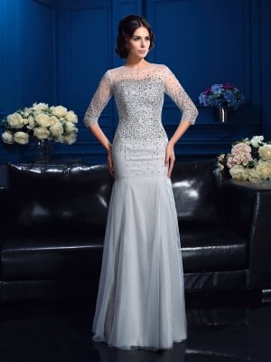 Sheath/Column Scoop Beading 3/4 Sleeves Long Net Mother of the Bride Dresses