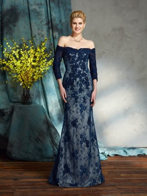 Trumpet/Mermaid Off-the-Shoulder Lace 3/4 Sleeves Long Lace Mother of the Bride Dresses