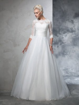 Ball Gown Jewel Applique 3/4 Sleeves Long Organza Wedding Dresses