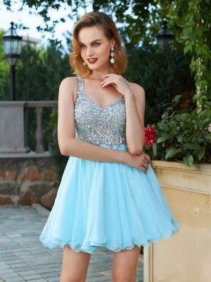 A-Line/Princess Sleeveless Rhinestone Straps Short/Mini Chiffon Dresses