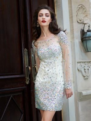 Sheath/Column Long Sleeves Net Scoop Rhinestone Short/Mini Dresses